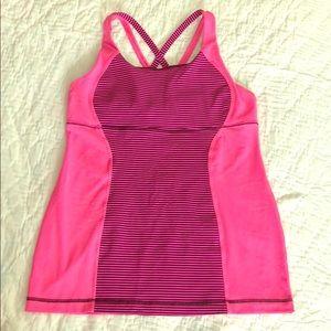 Lululemon Pink/Maroon Striped Tank w/built in bra